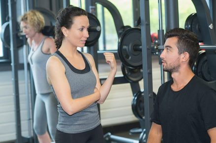 young sporty couple in gym